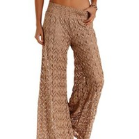 Tan High-Waisted Crochet Palazzo Pants by Charlotte Russe