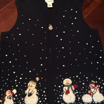 Ugly Christmas Sweater Vest, Men's Or Woman's Size Medium, Knit Vintage zip up, Snowman Family, Beads and Seqeunce.