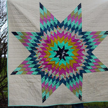 Modern Lap Quilt or Wall hanging Lonestar  or Star of Bethlehem Pattern