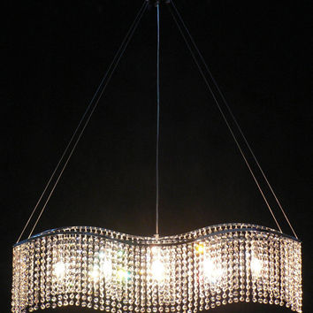 A93-833/5 CH Gallery Modern & Contemporary   Modern & Contemporary 5 Lights Crystal Chandelier