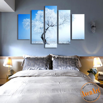5 Panel Winter Snow Paintings Modern Tree Painting Canvas Prints Artwork Picture for Living Room Home Decor Wall Art Unframed