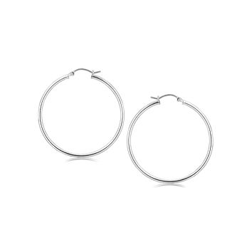 Sterling Silver Rhodium Plated Thin Large Polished Hoop Earrings (40mm)