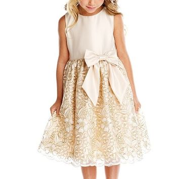 Girls Gold Embroidered Party Dress