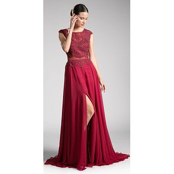 Burgundy Illusion Beaded Formal Gown Cap Sleeves with Slit