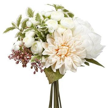 "Silk Peony & Dahlia Bouquet in Pink and White - 12"" Tall"