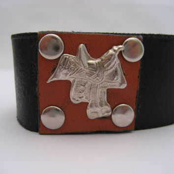 Horse Saddle Bracelet Western Leather Bracelet Leather Cuff Real Leather Cowboy Bracelet Horse Saddle Jewelry Western Cuff Gifts Under 30