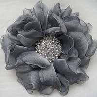 Stunning Grey  Chiffon Bridal Flower Hair Clip Bridal Accessories Bride Bridesmaid Prom with Beautiful Rhinestone Accent