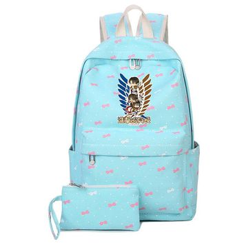 Cool Attack on Titan 2018  Printing Backpack Candy Color Women Backpack Mochila Feminina Canvas Laptop Backpack Cartoon School Bags AT_90_11