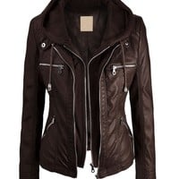 LL Womens Removable Hoodie Motorcyle Jacket L COFFEE