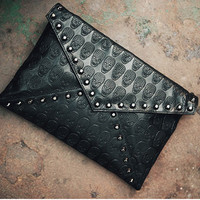 Skull Pattern  Studded Envelope Clutch Purse
