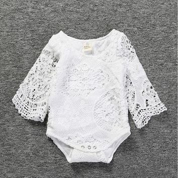 Infant newbron Baby Clothes Girl white  Lace Floral Romper Jumpsuit Outfits Sunsuit 2018 Summer Baby Girls Romper free shipping