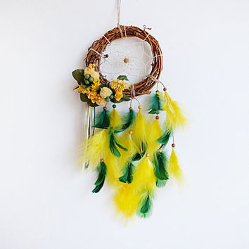 Dreamcatcher, Boho Dreamcatcher, Flower Dreamcatcher, Floral Dreamcatcher, Boho Wall Hanging, Natural Dreamcatcher, Boho Home Decor