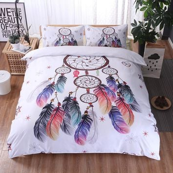 Bohemian Oriental Quilt Duvet Bedding Decoration Fashion Dreamcatcher Printing 200 X 230cm Quilt Covers With 2 Pillowcases