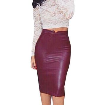 Women High Waist Classic Faux Leather Skirt Chic Slim Bodycon Pencil Skirts Party Thin Package Hip Saia Feminina