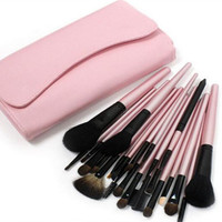 23pcs Pink Make Up Brush Kit with Buttoned Case