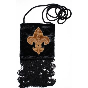 Fleur De Lis Black and Gold Velvet Purse with Fringes