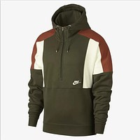 NIKE Autumn Winter Trending Stylish Stitching Color Matching Half Zipper Hooded Sweater Top Sweatshirt Green