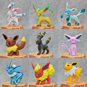 Original Eevee Vaporeon Jolteon Flareon Espeon Umbreon Leafeon Glaceon with box action & toy figures Collection toy pks