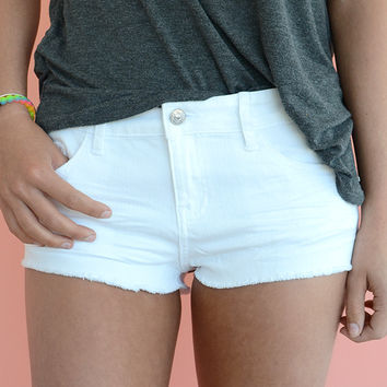 Just USA Daisy Duke Jean Shorts - White