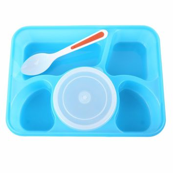 PREUP Portable Microwave Bento Lunch Dinnerware Box for Kids 5+1 Food Container Storage plastic carrying Food Box Lunchbox New