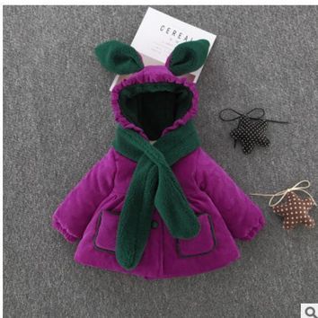 free delivery autumn and winter new girls cute rabbit ears cotton children thicker warm corduroy hooded jacket