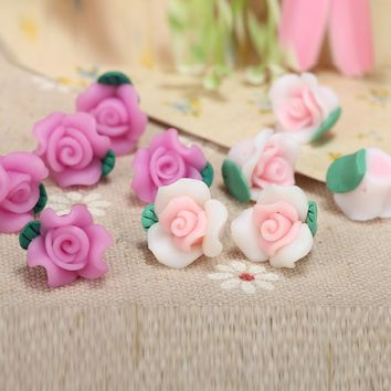 100pc/lot 12mm Classical Polymer Clay Fimo Small Rose Flower Spacer Beads Charms For Bracelet Jewelry Craft Making New Materials