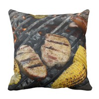 GRILLED STEAK, PORK CHOPS, CORN, HOT DOG THROW PILLOW