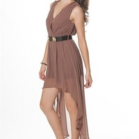 V-Neck Studded Dress With High Lo Hem - Mocha from AnnaBelle at Lucky 21 Lucky 21