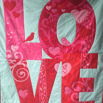 Girl Quilt, LOVE Red Pink Aqua Modern Crib to Toddler Quilt - Birds Hearts & Swirls - READY to SHiP