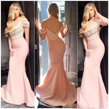 2017 Burgundy Off the Shoulder Mermaid Long Bridesmaid Dresses Sparkly Sequined Wedding Guest Dresses Blush Maid of Honor Gowns