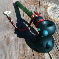 Green Glass Tribal Bubbler with Pouch
