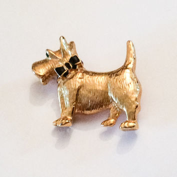 VALENTINE Sale, Gold Tone Scottie Dog Pin or Brooch 1950s Vintage Jewelry, Gift for Her