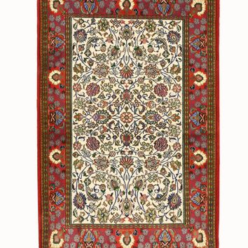 EORC Hand-knotted Wool Ivory Traditional Oriental Qum Rug
