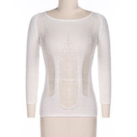 White Long Sleeve Ripped Knitted Top
