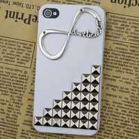 "Silvery Stud With One Direction ""Directioner"" Infinity  White Hard Case Cover for Apple iPhone 4g/4s"