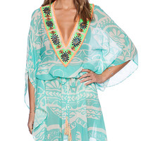 Pia Pauro Ladies Embroidered Kaftan in Mint