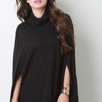 Soft Knit Turtleneck Wrap Cape