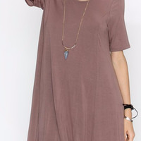 Back Lace Up Bamboo Dress in Coco