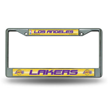 Los Angeles Lakers NBA Bling Glitter Chrome License Plate Frame