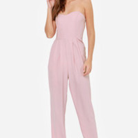 Got a Crush on You Light Mauve Strapless Jumpsuit