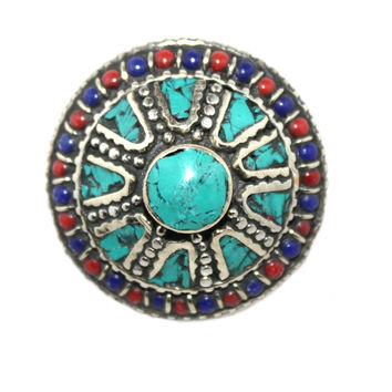 Adjustable Round turquoise ring