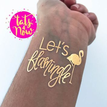 Let's Flamingle gold tattoos