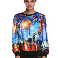 Watercolor Painting Pattern Printed Long-Sleeved Sweatshirts