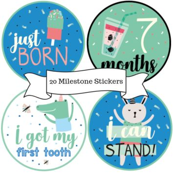Baby Boy Monthly Milestone Stickers - (set of 20) all 12 months and 8 special milestones - Free + Shipping $3.99 for one set, $4.99 for two sets, $5.99 for three sets