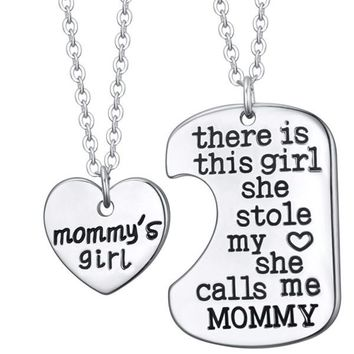 There is this girl she stole my heart she calls me mommy silver necklace
