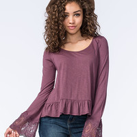 Chloe & Katie Crochet Bell Sleeve Womens Peplum Top Plum  In Sizes