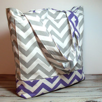 Purple Chevron Bag - Beach Bag - Canvas Tote Bag - Chevron Beach Bag - Large Vacation Bag - Bridesmaid Tote - Beach Wedding - Cute Beach Bag