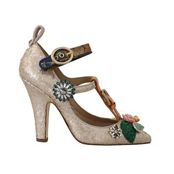 Dolce & Gabbana Gold Sequin Crystal Stone Sandal