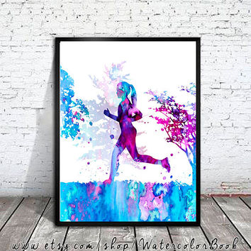 Running Watercolor Print, Running art,  Run art, watercolor painting, watercolor art, Illustration, sport art, art print, sport poster