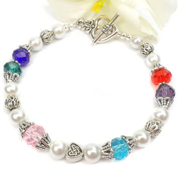 Birthstone Wedding Bracelet: Special Gift for Bride, Family Bracelet